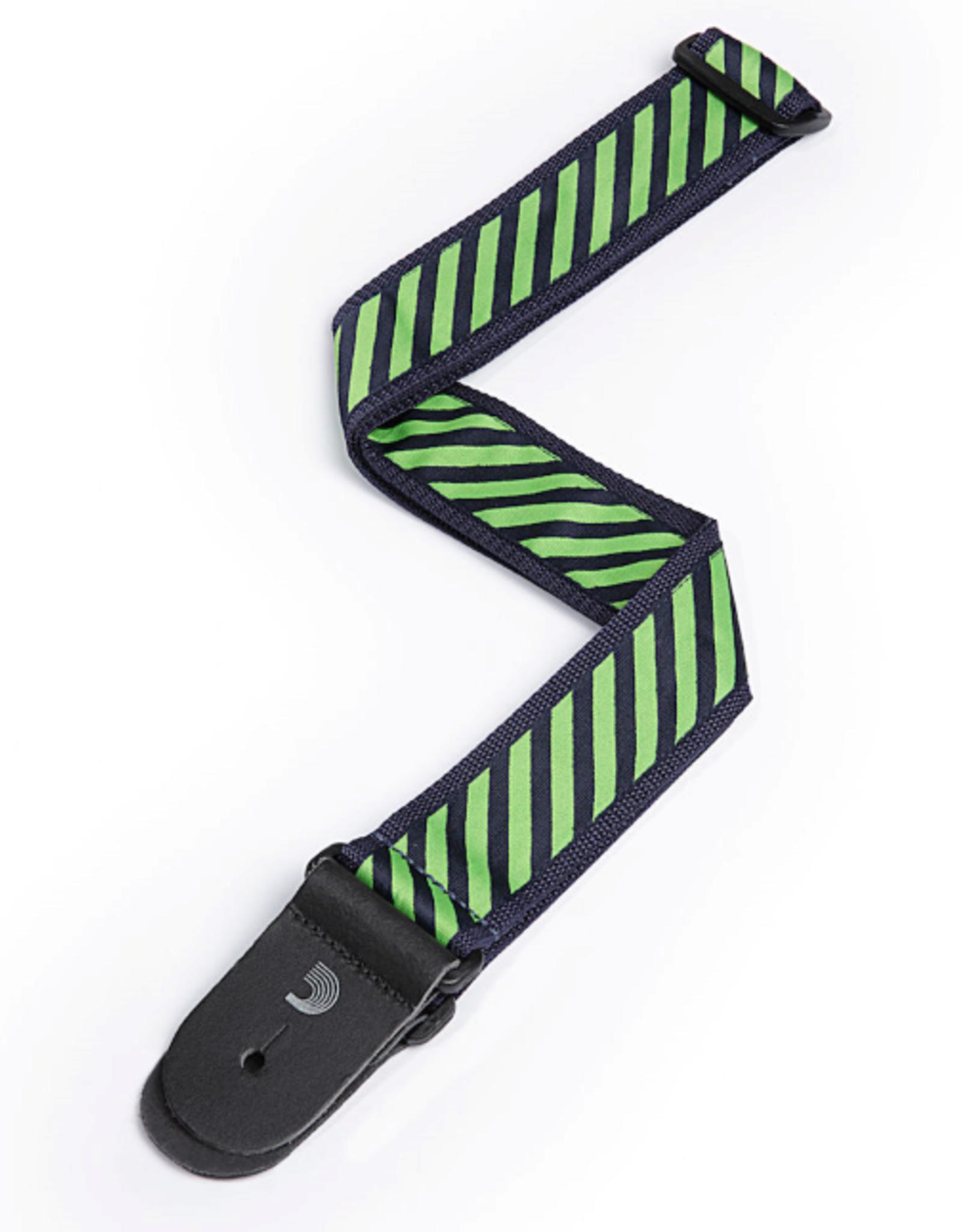 Planet Waves D'Addario Polypropylene Guitar Strap w/ Stripe Jacquard, Green