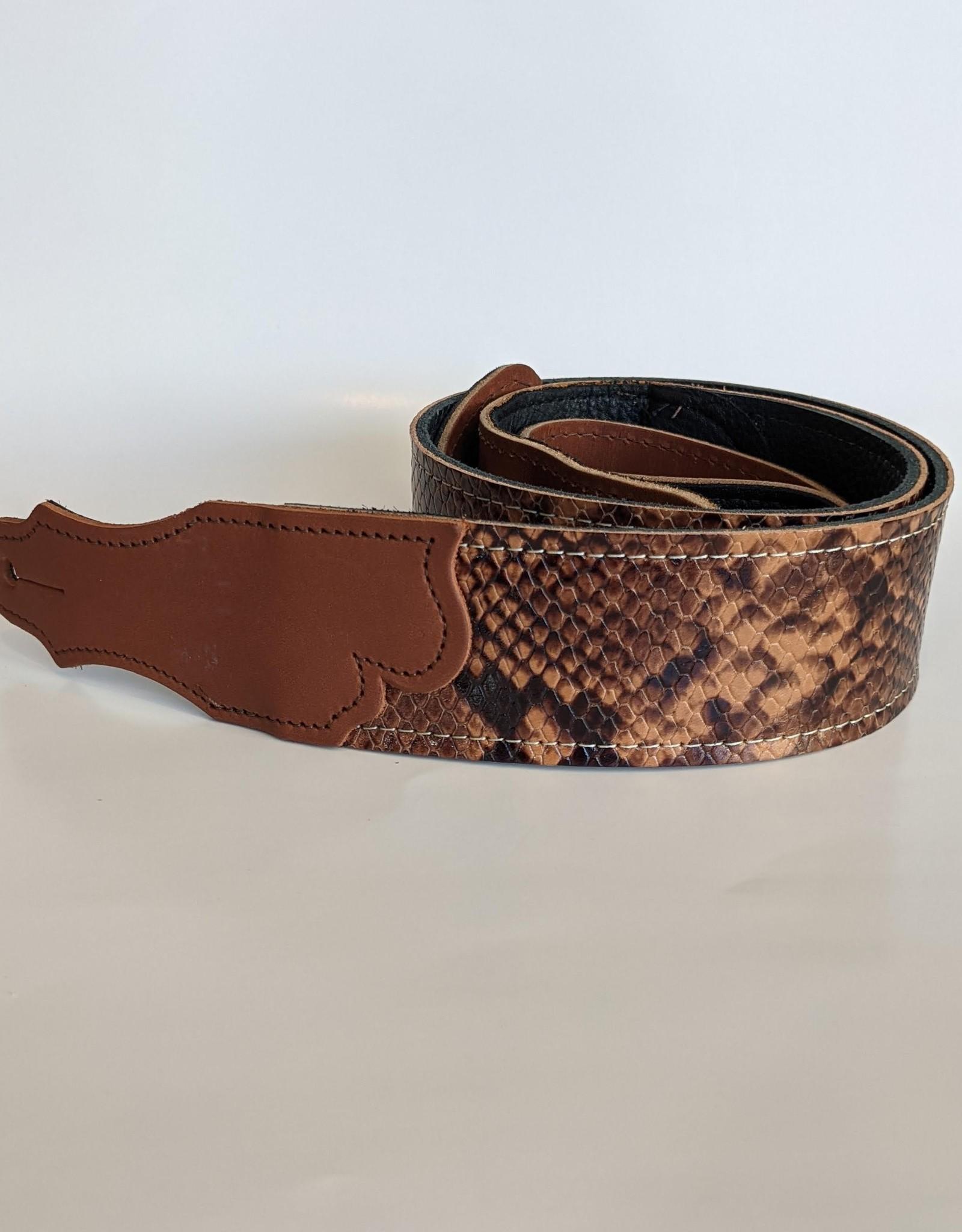 """Franklin Straps Franklin 2"""" Snakeskin Ball Glove Leather Strap, Cognac/Natural"""