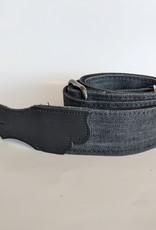 Franklin Straps Franklin Black Denim/Black Leather End Tab Guitar Strap