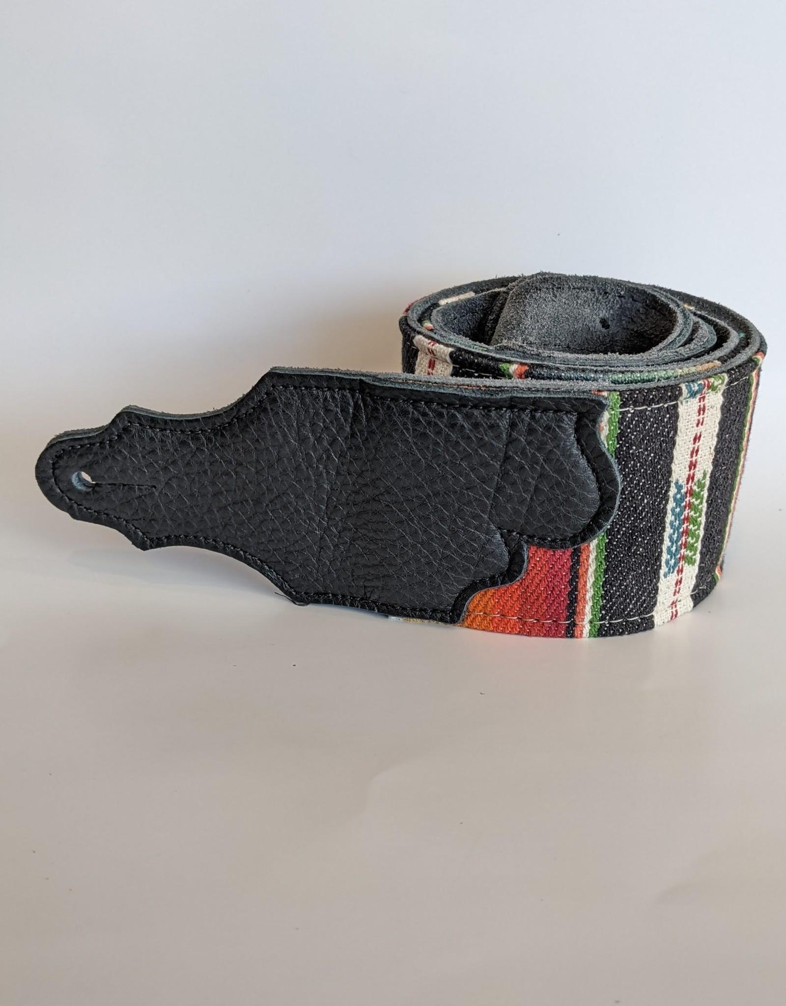"""Franklin Straps Franklin 3"""" Saddle Blanket Cinch Black Leather End Tab, Black Stripe"""