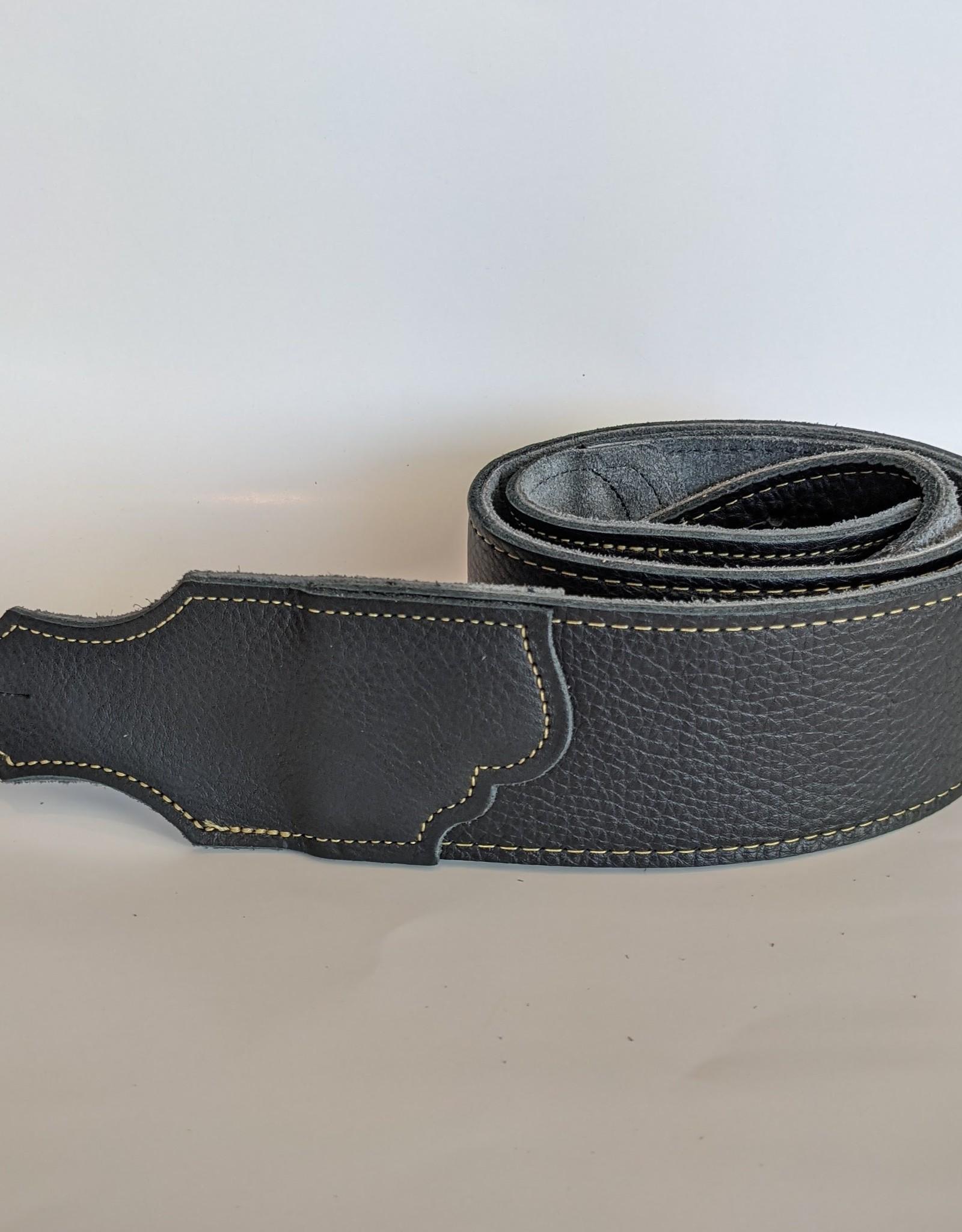 "Franklin Straps Franklin 2.5"" Black Glove Leather/Gold Stitching"