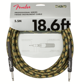 Fender Fender Professional Series Instrument Cable, Straight/Straight, 18.6', Woodland Camo