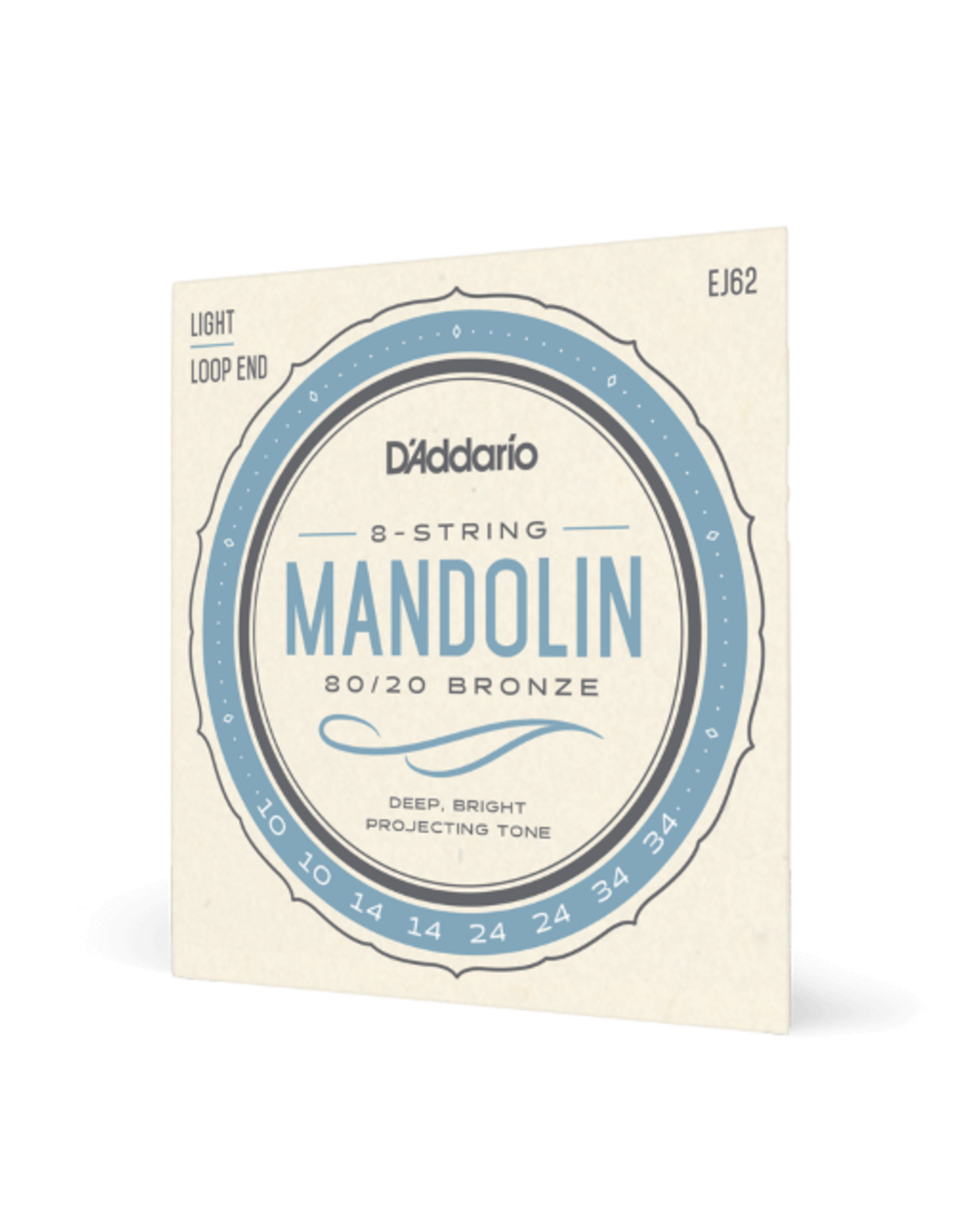 D'Addario D'Addario EJ62 80/20 Bronze Mandolin Strings, Light, 10-34