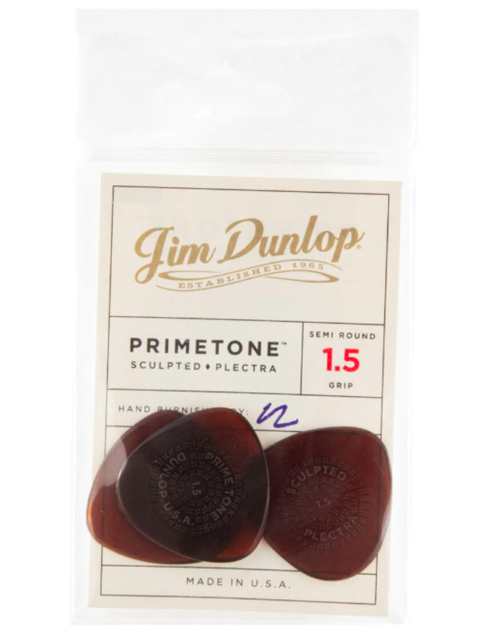 Dunlop Dunlop Primetone 1.5mm Semi-Round Grip Picks, Player Pack (3 Picks)