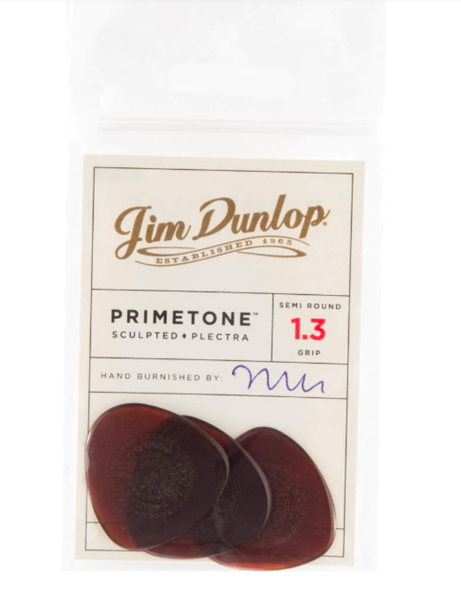 Dunlop Dunlop Primetone 1.3 Semi-Round Grip Picks, Player Pack (3 Picks)