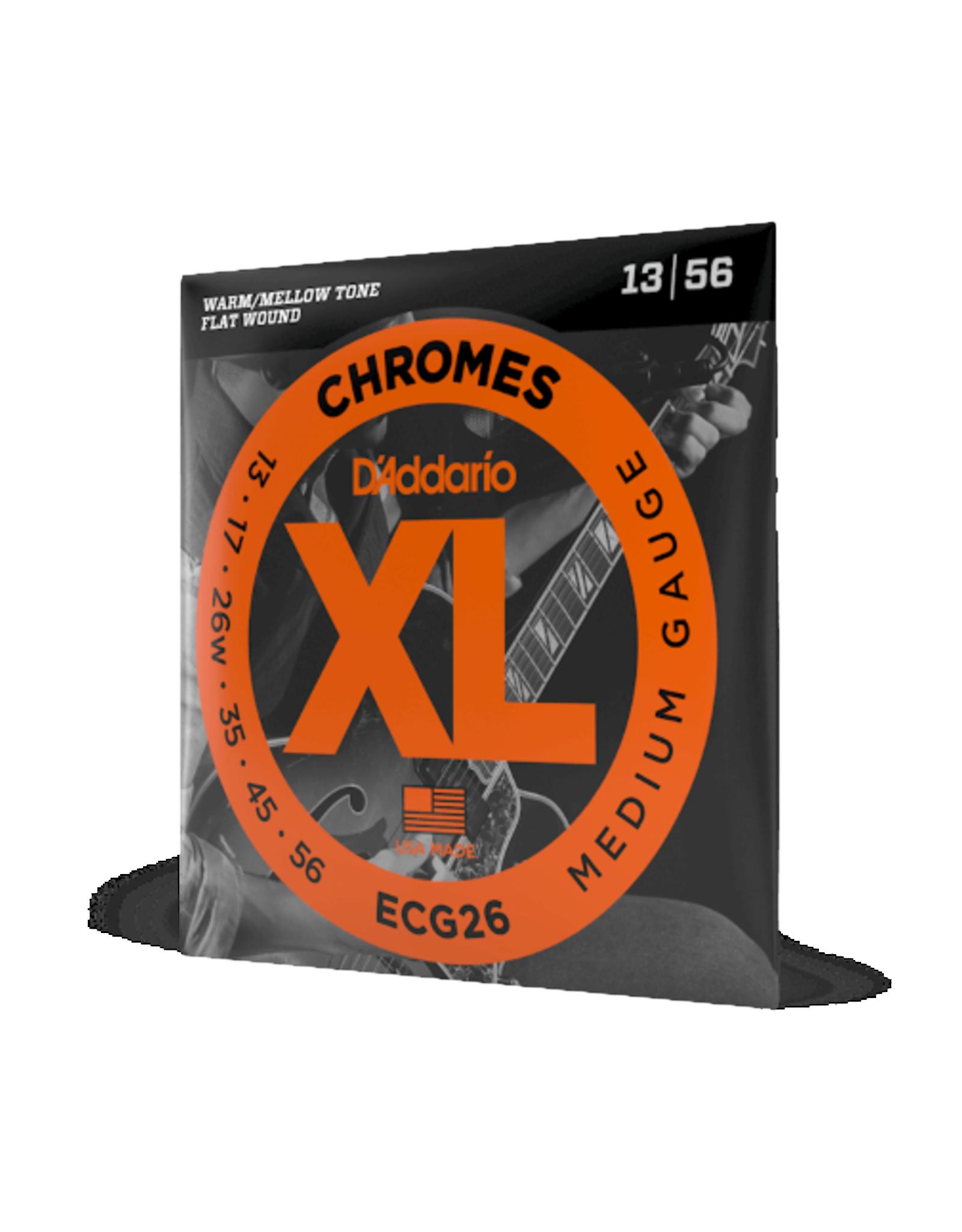 D'Addario D'Addario ECG26 Chromes Flat Wound Electric Guitar Strings, Medium, 13-56