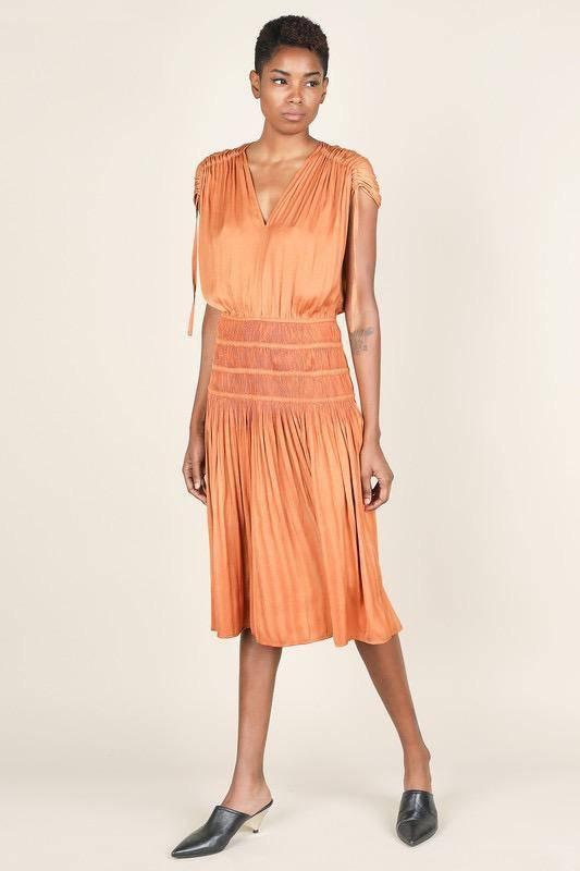 dresses Drawstring Smocked Midi Dress