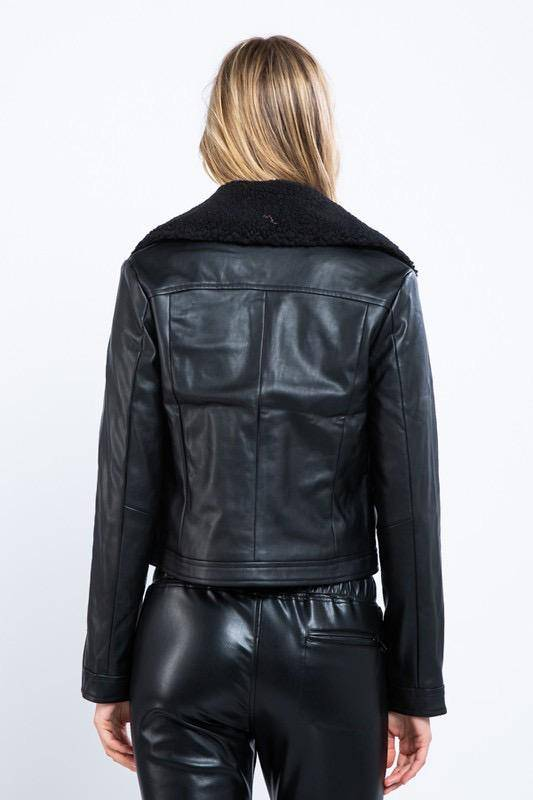 jackets Faux Leather Jacket W/Removable Shearling