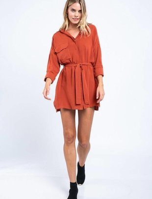 dresses Long-Sleeve Front Tied Mini Dress