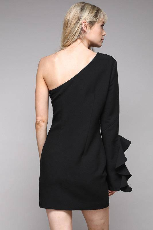 dresses One Shoulder Ruffle Dress