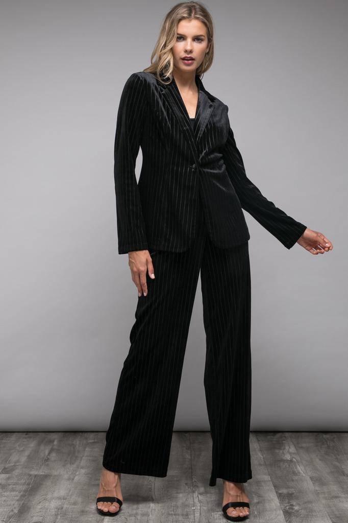 jackets Stripe Velvet Blazer