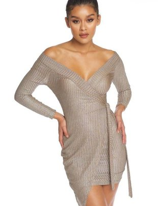dresses Metallic Wrap Dress
