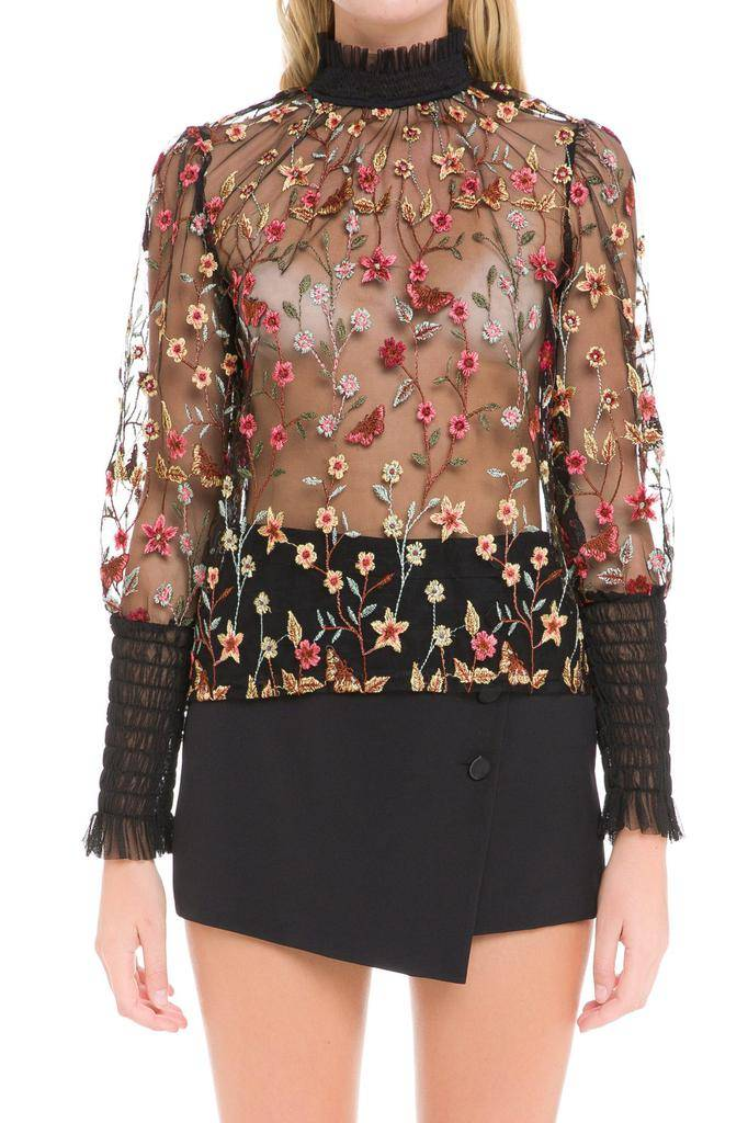 tops Caryn Embroidered Mesh Top