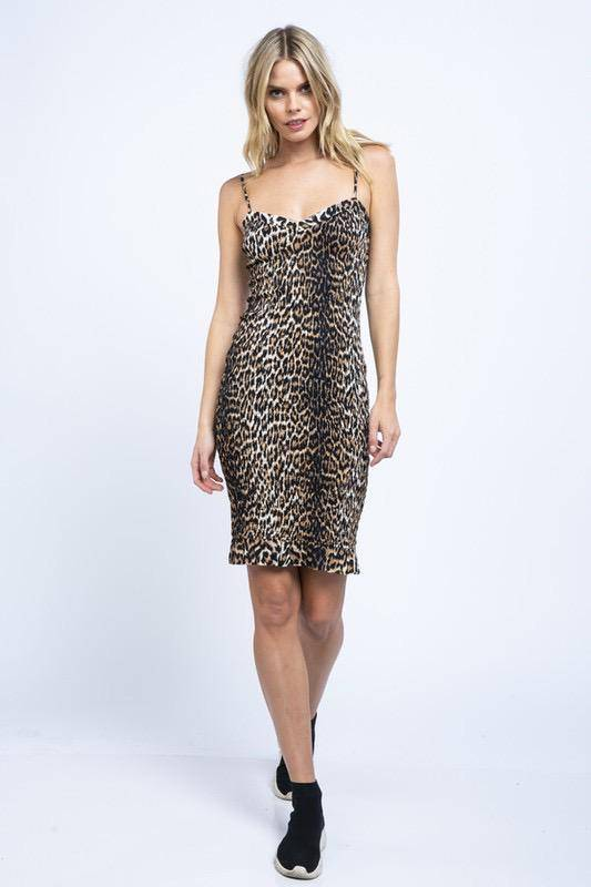 dresses Miley Leopard Smoked Midi Dress