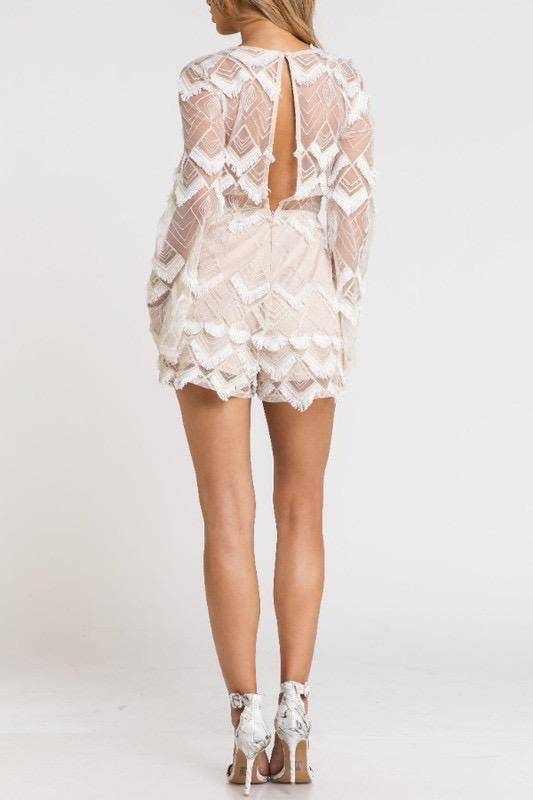 Rompers Embroidered Fringe Detail Romper