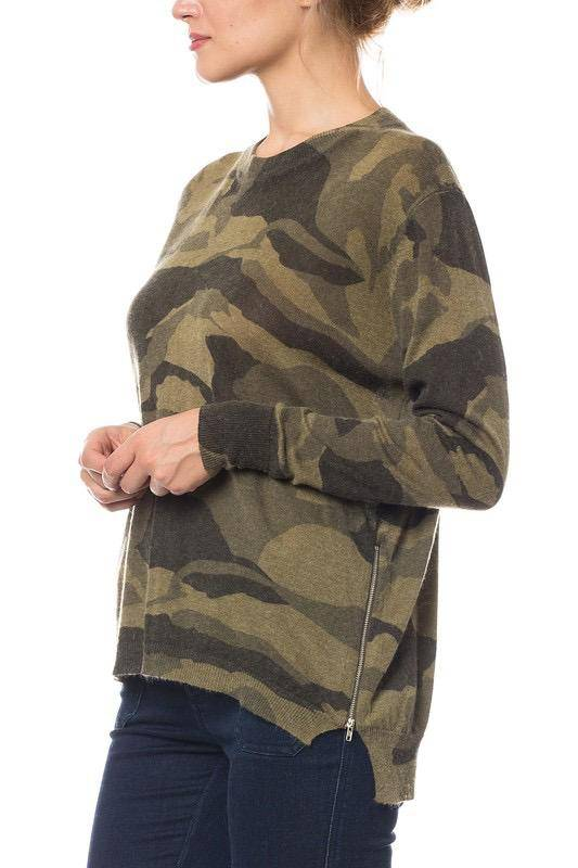 sweaters Camo Sweater With zip-up sides