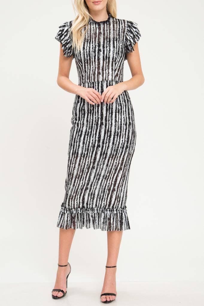 dresses Metallic Contast SS Midi dress