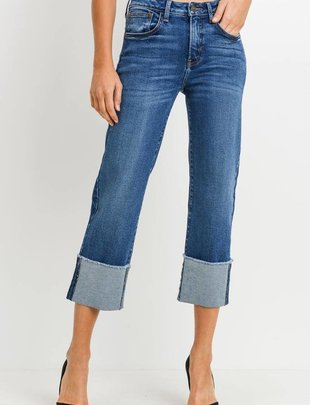 denim High Rise Straight W/Cuff