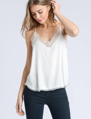 tops Silk Top W/Lace Trim