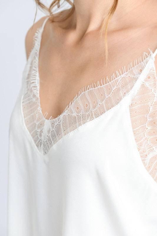 tops Silk Top W/Lace Trim