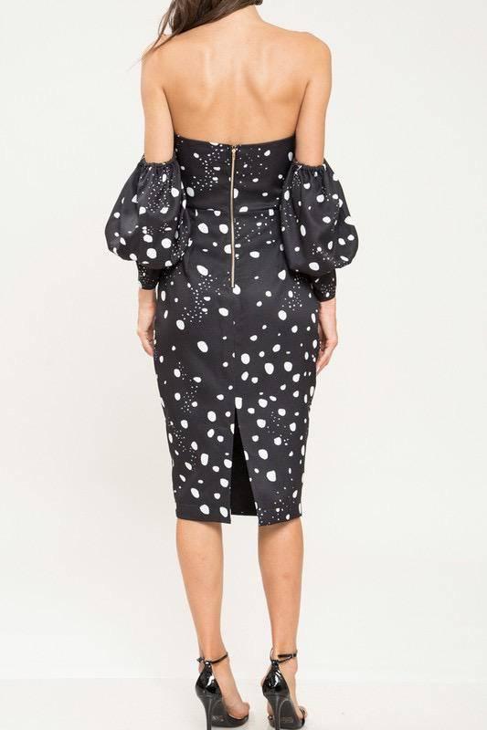 dresses Lynn Splashed Polka Dot Midi Dress