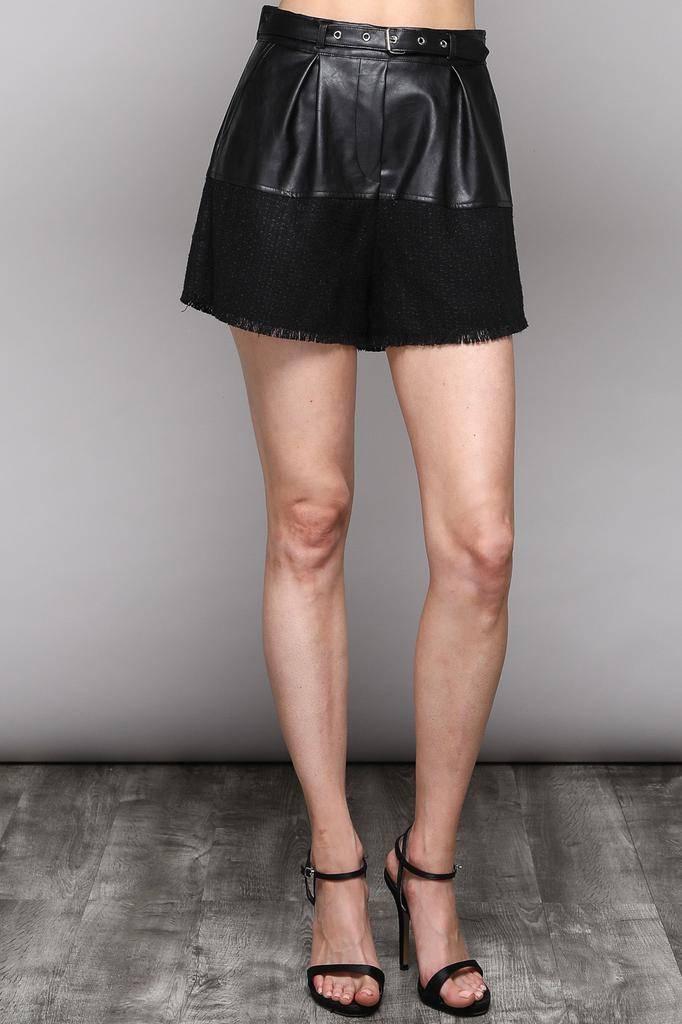 shorts Faux Leater Belt Shorts