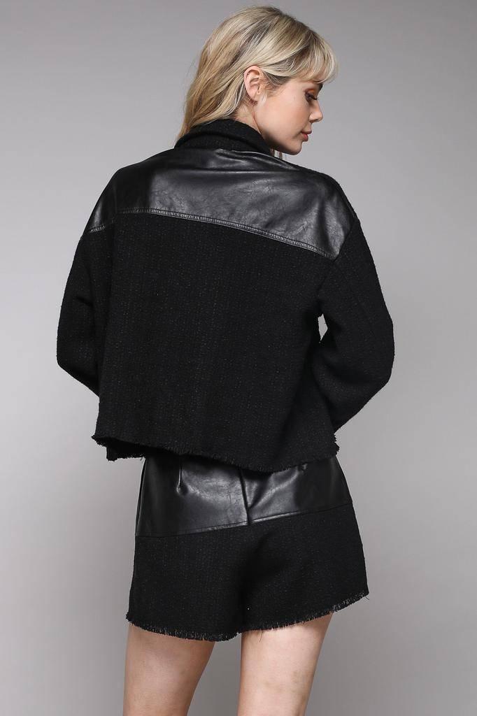 jackets Tina Tweed Leather Sleeve Jacket