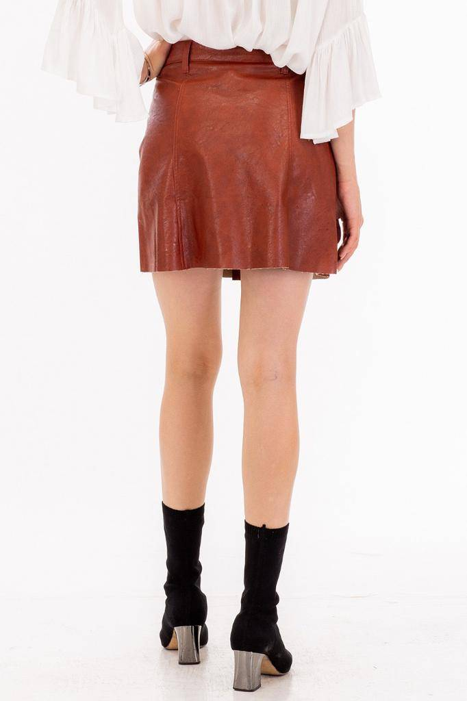 Skirt Faux Leather Button Up Mini Skirt