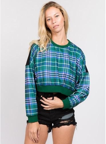 sweaters Check Printed Crop Sweatershirt