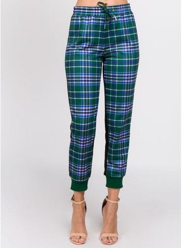 Bottoms Checker Printed Swetpants