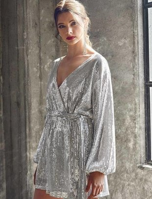 dresses Mya Wrap Sequin Party Dress