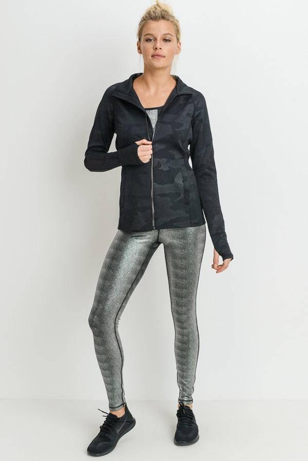 jackets Zip-Up Geo Camo Mesh Jacket