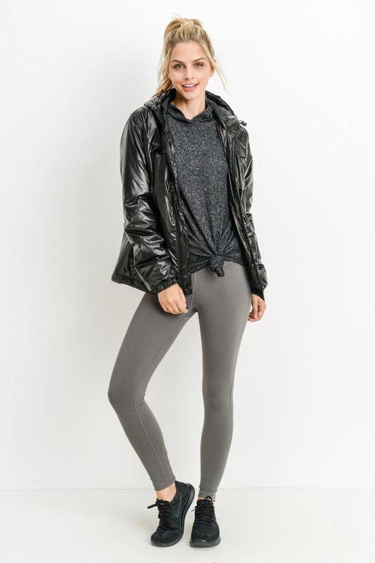 jackets Glossy Hoodie Active Jacket