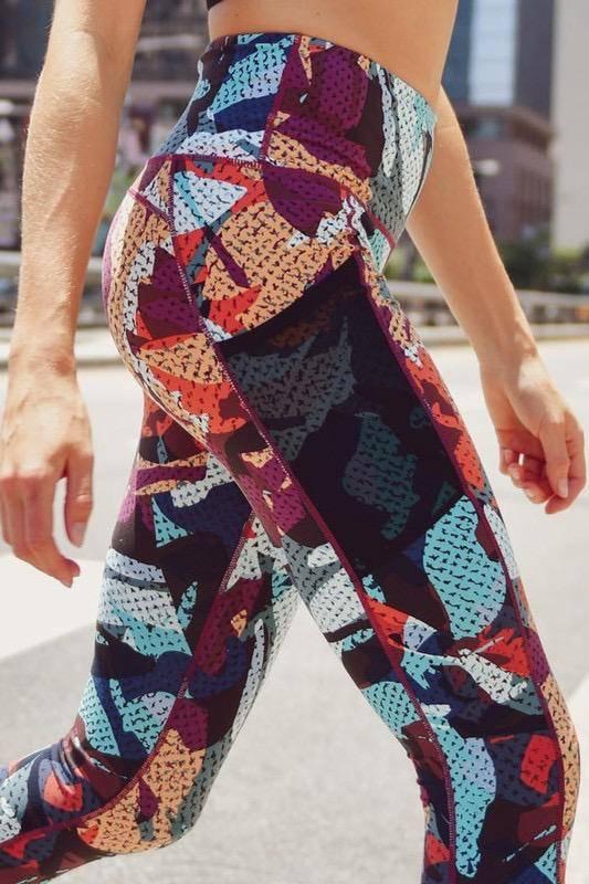 Legwear Highwaist Kaleidoscope Camo Leggings