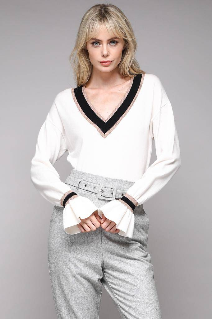 sweaters V-Neck Color Block Sweater