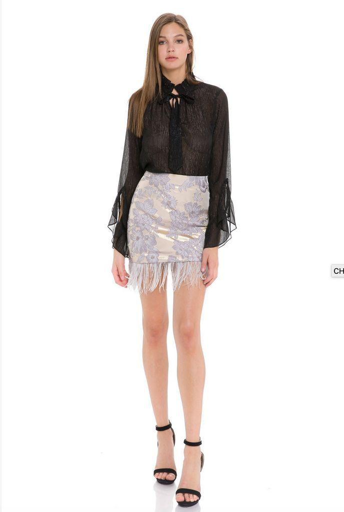 Skirt Mitchell Feather Hem Mini Skirt