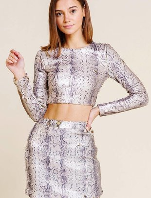 tops Blush Snake Sequins Crop Top