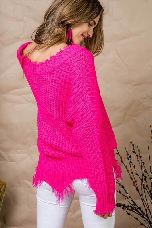 sweaters Frayed V Neck Sweater