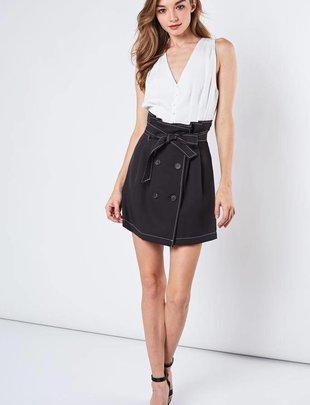 Skirt Lucie Button Front Paper Bag Skirt