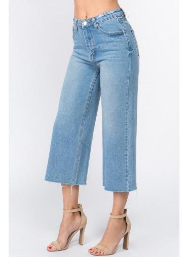denim Wide Leg Cropped Denim