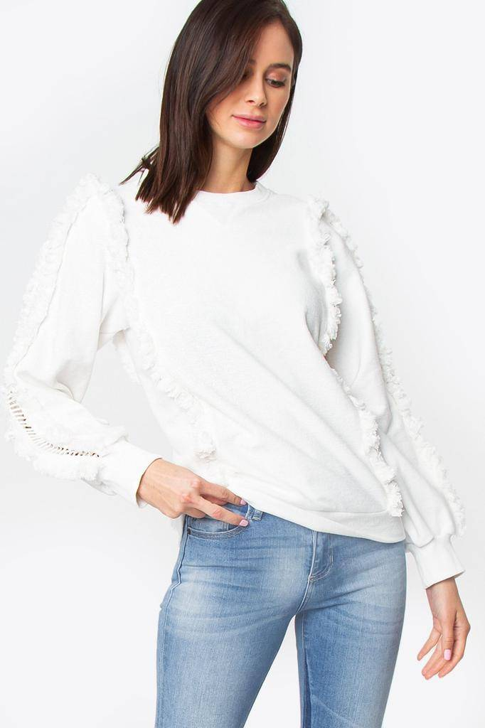 sweaters Houston Fringe Sweatshirt
