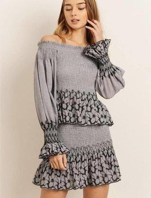 Skirt Floral Print Smock Skirt