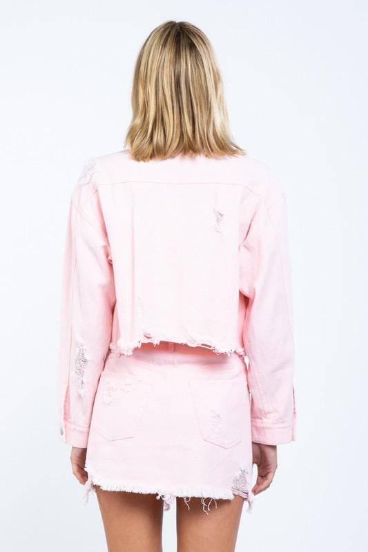 jackets Destructed Denim Jacket