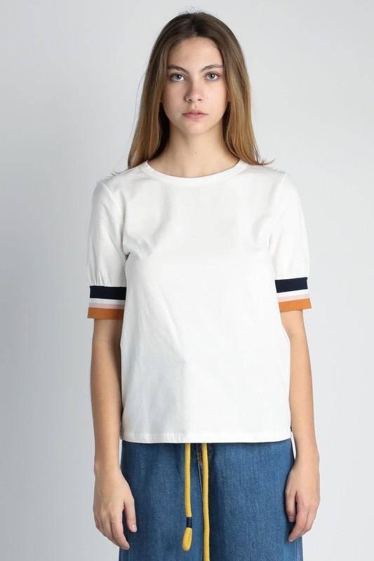 Tee W/Rib Band Sleeves