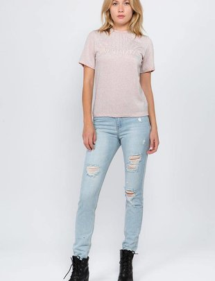 Tees Ilaria Metallic Embroidered Tee