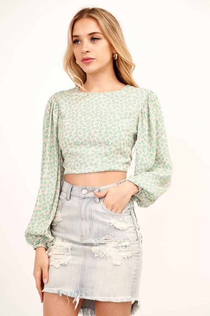 Cropped Blouse W/Bubble Sleeves