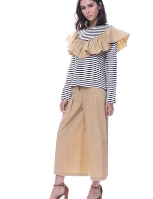 tops L/s knit Stripe ruffle Top