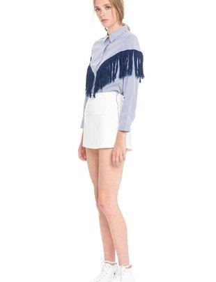 Shirt Fringe Detail Stripe Shirt