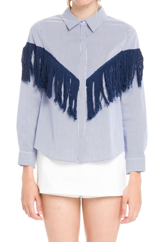 Shirt Fringe Detail Stripe Shirt