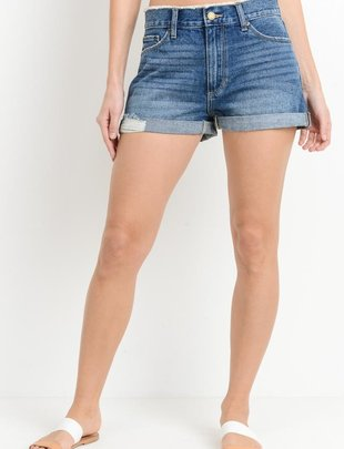shorts High Rise Double Cuff Frayed Short